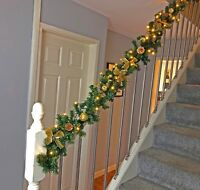 Pre Lit 1.8m & 2.7m Gold Staircase Christmas Garland Swag Warm White Lights