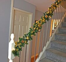 Pre Lit 1.8m & 2.7m Gold Stairs Fireplace Christmas Garland Swag Warm Lights