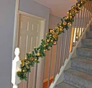 Pre Lit 1.8m & 2.7m Gold Stairs Fireplace Christmas Garland Swag Warm Lights New