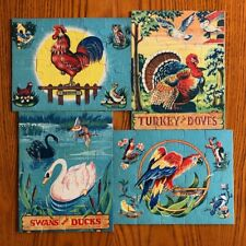 RARE ARTHUR DRITZ bird puzzles for children 1930s/1940s COMPLETE set of 4
