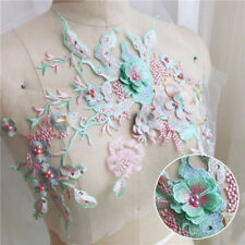 3D Flower Embroidery DIY Lace Bridal Applique Beaded Pearl Tulle Wedding Dress