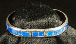Silver on Brass Bracelet with Lapis Inlay