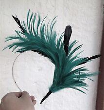 Fascia per capelli Fascinator con Piuma Verde modisteria Sposa Capelli Pezzo Cappello