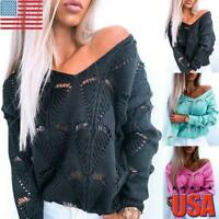 US Womens Long Sleeve Knitted Tops Ladies Sexy Hollow Out Blouse Jumper Pullover