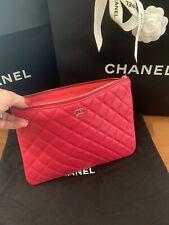 Auth Chanel Pink Leather Clutch Makeup O Pouch Zipper HandBag Wallet Purse