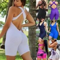 Women Sports Push Up Yoga Jumpsuit Short Bodysuit Leggings Gym Fitness Rompers O