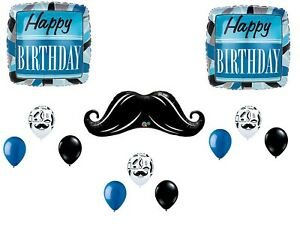 Mustache Balloons Man Boy Happy Birthday Party Decoration Supplies