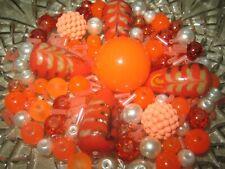 GLASPERLEN MIX/ 80 Stück Lampwork + Glasperlen orange-weiss