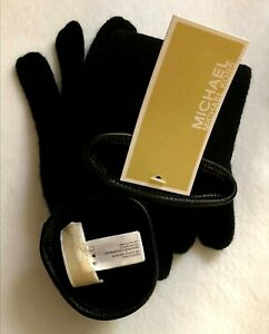 Michael Kors Leather Black Trim Knit Gloves / Mittens One Size New with Tag