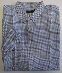 NWT Ralph Lauren Button Down Dress Shirt Short Sleeve Blue/Navy BIG 4XB