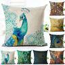 LN_ Simple Peacock Linen Throw Pillow Case Cushion Cover Sofa Bed Car Cafe Dec