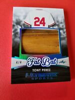 TONY PEREZ JUMBO GAME USED BAT BARREL CARD #d 4/4 CINCINNATI REDS LEAF ULTIMATE