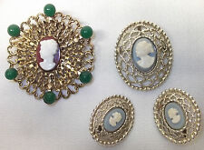 4 pc vtg Cameo Lace Filigree BROOCH Pins & Clip EARRINGS Gold Tone lot Coventry