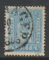 Norway - 1864, 4sk Pale Blue stamp - Used - SG 16