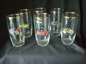 SET OF 6 x VINTAGE / RETRO  12cm GLASSES VINTAGE VETERAN CARS DESIGN