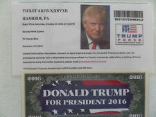 DONALD TRUMP, 10-1-2016, SPOOKY NOOK SPORTS, MANHEIM, PA.  RALLY EVENT TICKET