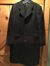 Mens Vintage THE CLOTHIER Pure Virgin Wool Long Overcoat Coat Gray 42 Reg