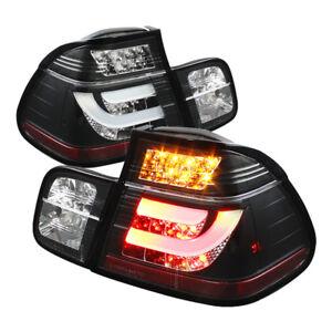 BMW 3-Series 99-01 E46 4dr Black LED Rear Tail Lights Set Strip Style Lamp Sedan