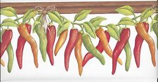 Mexican Chili Peppers on the Vine on White Wallpaper Border KV79527