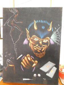 "Devil Satan Demon vices drugs sex gamble Original Oil? Black Velvet 26""x18"""