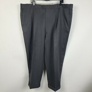 JB Britches Winston Pleated Cuffed Mid Grey Mens Dress Pants Size 46x25