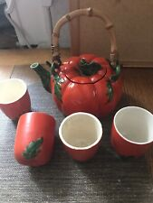 Beautiful Vintage Occupied Japan Tomato Teapot and Cups set