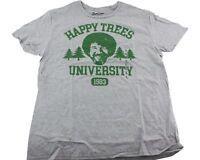 Bob Ross Happy Trees University T-Shirt Adult L XL 2XL Gray Green