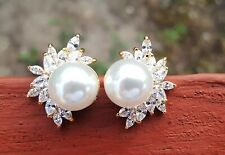 Shell Pearl Stud Earrings GOLD PLATED CZ PIERECED