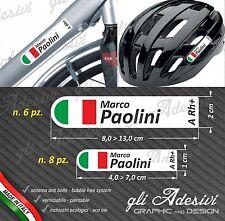 Set 14 Adesivi Stickers tuo Nome Casco Bici Moto Cupolino fondo bianco