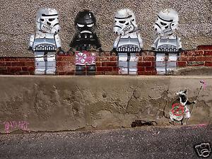 star wars legos banksy street art print poster canvas painting by andy baker COA