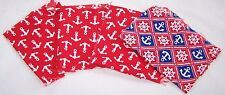 PCS VINTAGE COTTON FABRIC-ANCHORS-BOAT SHIP WHEEL-ART-CRAFT-SEW-RED WHITE BLUE