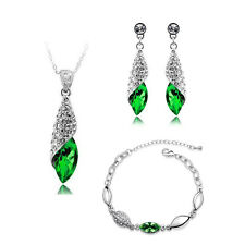 Bridal Jewellery Set Green Crystal Teardrop Earrings Necklace & Bracelet S319