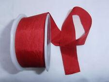 2M pezzo Plain Rosso Finta Seta REVERSIBILE A Nastro da Sposa Taglia Craft Dressmaking