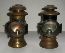 Coppia antiche '800 lanterne fanali da carrozza ad olio/acetilene in rame ottone