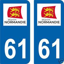 2 STICKERS 61 style PLAQUE D'IMMATRICULATION Département 61 Région NORMANDIE