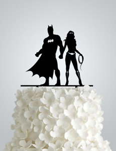 Acrylic Wedding cake Topper inspired by Batman and Wonder woman