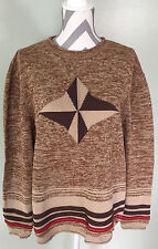 THE TERRITORY AHEAD Womens Brown Beige Tan Striped Cotton Sweater Size L Large