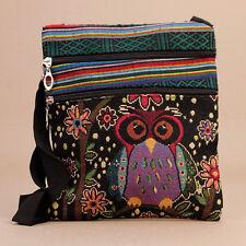 Purple Owl Tapestry Multi-Colour Passport Bag 2x Zip Sections Shoulder Strap