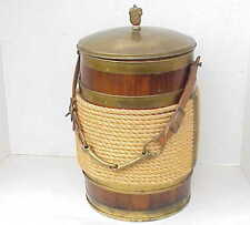 Vintage Morgan Fireman Wood Water BUCKET BRIGADE Ice Bucket