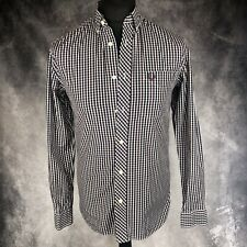 FRED PERRY Red & Navy Blue Check Shirt Long Sleeve Small S