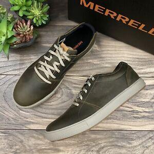 NIB Merrell Barkley Casual Sneakers Dusty Olive Full Grain Leather 10M