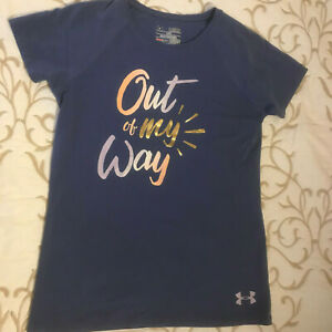 """Under Armour Blue Heat Gear """"Out of My Way"""" Tee - Boys or Girls Size M -  NICE!"""
