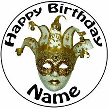 """Masquerade Jester MASCHERA Icing CAKE TOPPER-facile pre-tagliati 8 """" 20cm CERCHIO qualsiasi testo"""