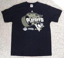 3abf363c vtg 2011 STANLEY CUP PLAYOFFS T-SHIRT Black Majestic Pittsburgh Penguins  MEN LRG