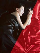 BLACK / RED SATIN DOUBLE DUVET COVER, FITTED SHEET, 4 X PILLOWCASES BEDDING SET