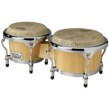 """NEW Remo CR-P780-00 7"""" & 8.5"""" Natural Wooden Bongo Set Crown Percussion"""