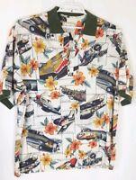 Mens KALAHEO Hawaiian Aloha Shirt Planes Aircraft Flying Fortress Flower Sz XL