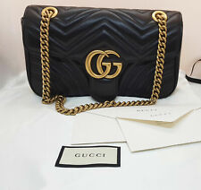 Authentic GUCCI GG Marmont Small MATELASS¨¦ SHOULDER BAG BLACK LEATHER GOLD HW