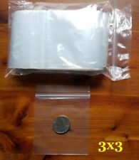 100 Top Lock Zip Seal Bags 3 X 3 Clear 2 Mil Small Plastic Reclosable Mini