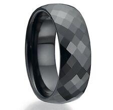 Engraved black ring Celtic sparkle design inlay sizes R S T U V W X Y Z BR386